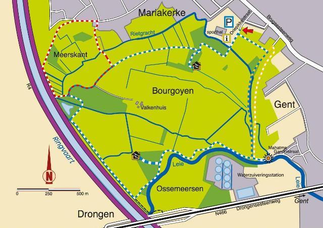 Plattegrond Bourgoyen-Ossemeersen © Natuurpunt Gent